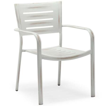 Stackable aluminum outdoor dining armchair
