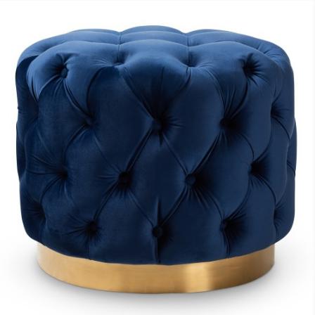 Blush pink velvet tufted Pouf Upholstered Ottoman with gold base