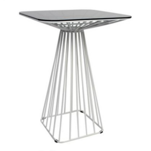 White powder coated metal wire square bar table