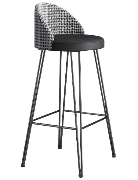 Black metal hairpin legs black PU seat bar stool