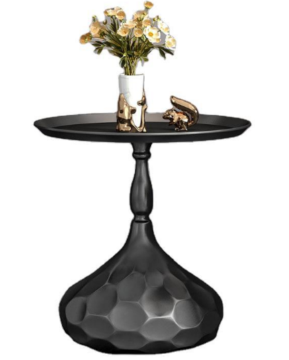 Black powder coated metal round side table