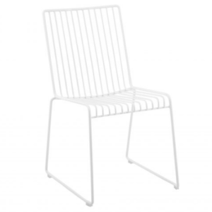 White arrow wire stackable restaurant chair