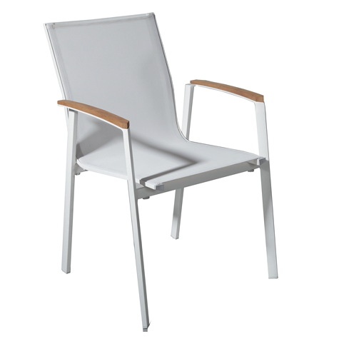 White Aluminium Textilene Fabric Outdoor Chair