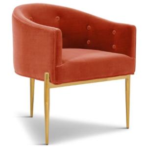 Gold stainless steel legs orange velvet upholstered dining chair