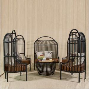 Black metal 6pcs birdcage sofa set