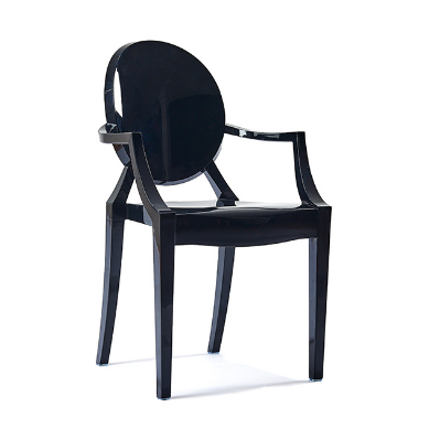 Black Acrylic Ghost chair with Arms - Stackable