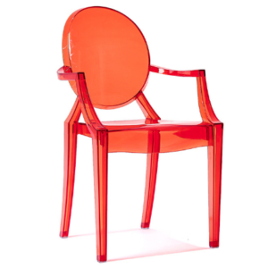 Transparent Acrylic Red Ghost chair with Arms – Stackable