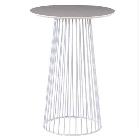 White MDF top metal wire base Cocktail bar table