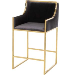 Gold plated stainless steel legs velvet counter stool