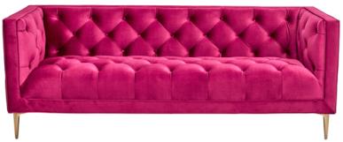 Golden legs tufted button velvet 3 seater lounge sofa