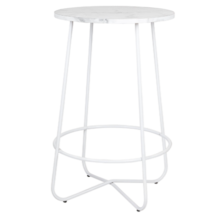 White marble top gold plated legs round bar table