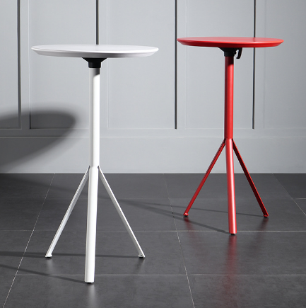 MDF top metal base red bar table