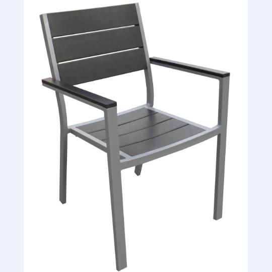 Aluminum frame polywood outdoor cafe armchair