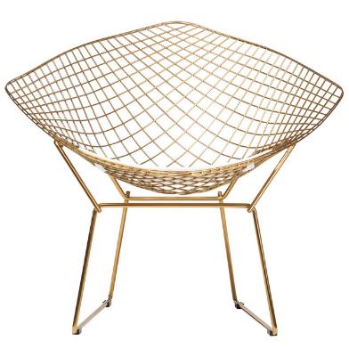 Gold wire mesh diamond chair