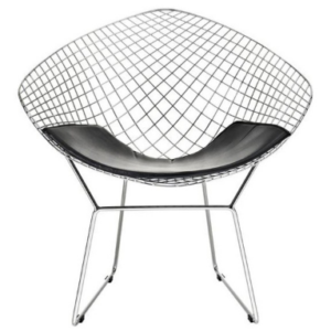 Silver wire mesh diamond chair with black leather seat