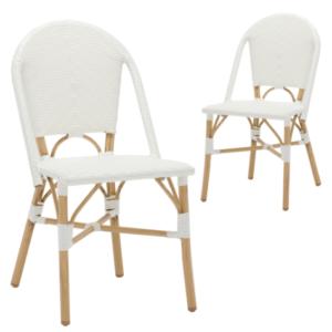 White rattan bistro wicker/rattan cafe chair