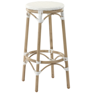 White rattan bamboo outdoor cafe barstool