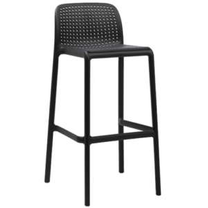 Black stackable plastic cafe barstool chair
