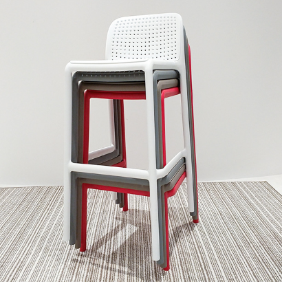 Red plastic cafe barstool for wholesale