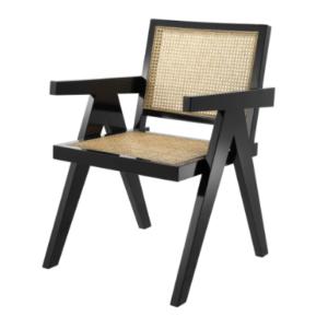 Black wooden frame cane armchair