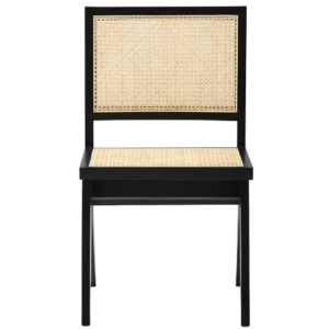 Black wooden frame cane chair
