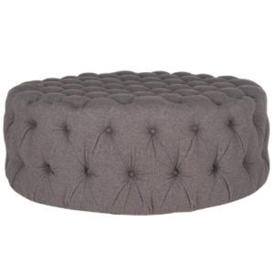 Tufted button design round gray linen fabric ottoman