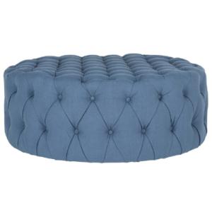 Tufted button design round blue linen fabric ottoman