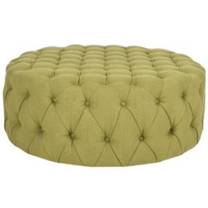 Tufted button design round green linen fabric ottoman