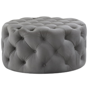 Tufted button design round velvet ottoman in gray