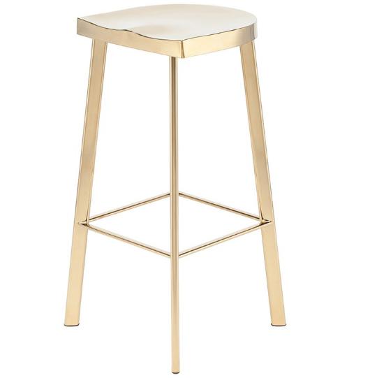 Brush gold stainless steel bar stool