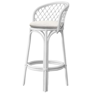 Natural rattan white bar stool