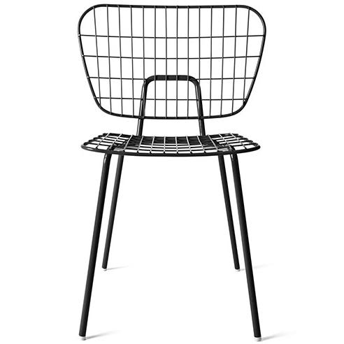Black metal wire restaurant cafe chair
