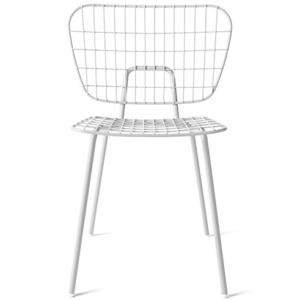 White powder coated metal wire cafe chair