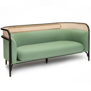 Ash wood cane back 2 seater lounge sofa