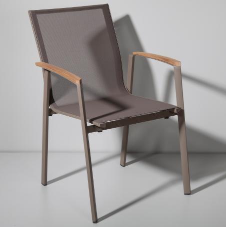 Taupe Aluminium Textilene Fabric Outdoor Chair