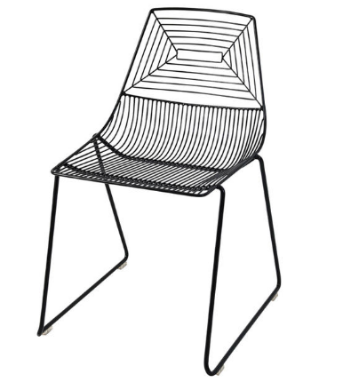 Black powder coated Wire Dining Chair - Stackable