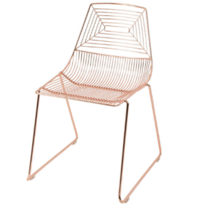 Classic design Rose Gold Stackable Wire Dining Chair