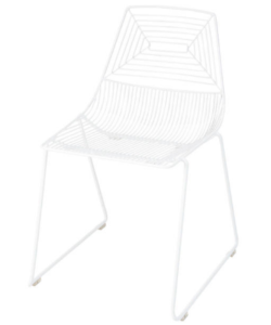 White powder coated Stackable Wire Dining Chair