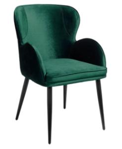 Black metal legs green velvet dining chair