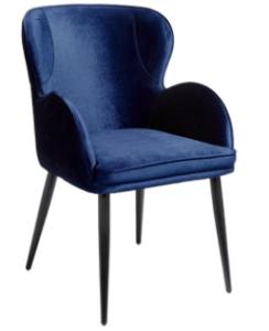 Modern design black metal legs navy blue velvet dining chair