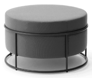 Black metal base fabric round ottoman