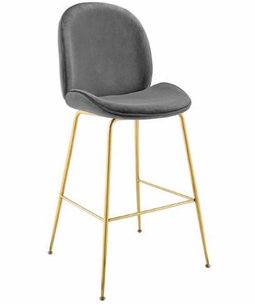 Gold Stainless Steel Leg Gray Velvet Bar Stool