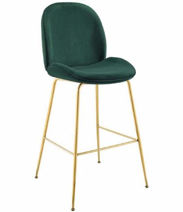 Gold Stainless Steel Leg Green Velvet Bar Stool