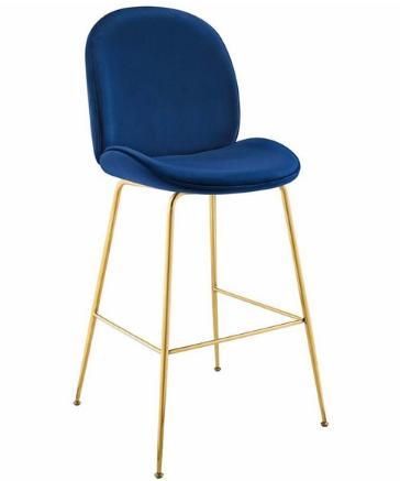 Gold Stainless Steel Leg Navy Blue Velvet Bar Stool