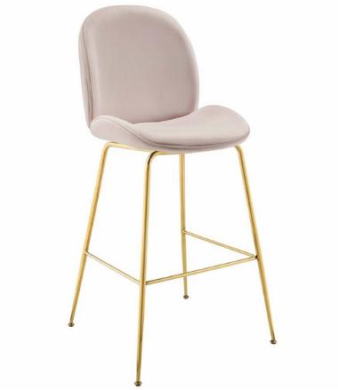 Gold Stainless Steel Leg Blush Pink Velvet Bar Stool for wholesale