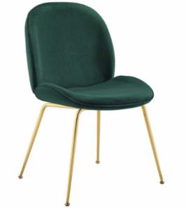 Gold Stainless Steel Leg Green Velvet Dining Chair
