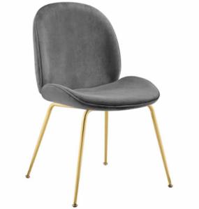 Modern Design Gold Stainless Steel Leg Gray Velvet Dining Chair