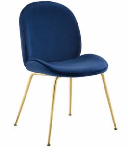 Gold Stainless Steel Leg Navy Blue Velvet Dining Chair