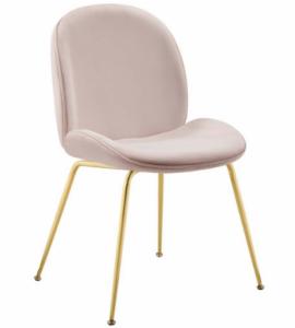 Modern Gold Stainless Steel Leg Blush Pink Velvet Dining Chair