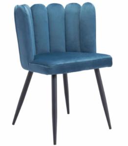 Black metal legs navy blue velvet dining chair